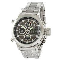 Армейские часы AMST Metall Silver-Black, кварцевые, противоударные, наручные мужские часы АМСТ, реплика, отличное качество!
