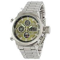 Армейские часы AMST Metall Silver-Green, кварцевые, противоударные, наручные мужские часы АМСТ, реплика, отличное качество!