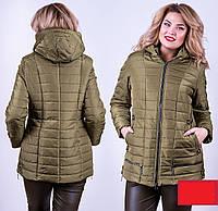 Демисезонная куртка Валентина 52-58р хаки, фото 1