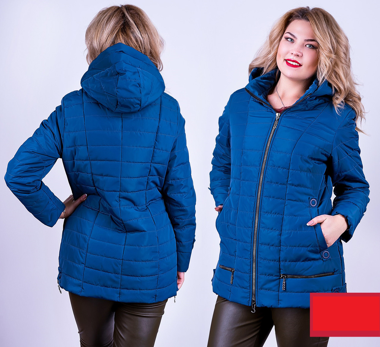 Демисезонная куртка Валентина 52-58р морская волна