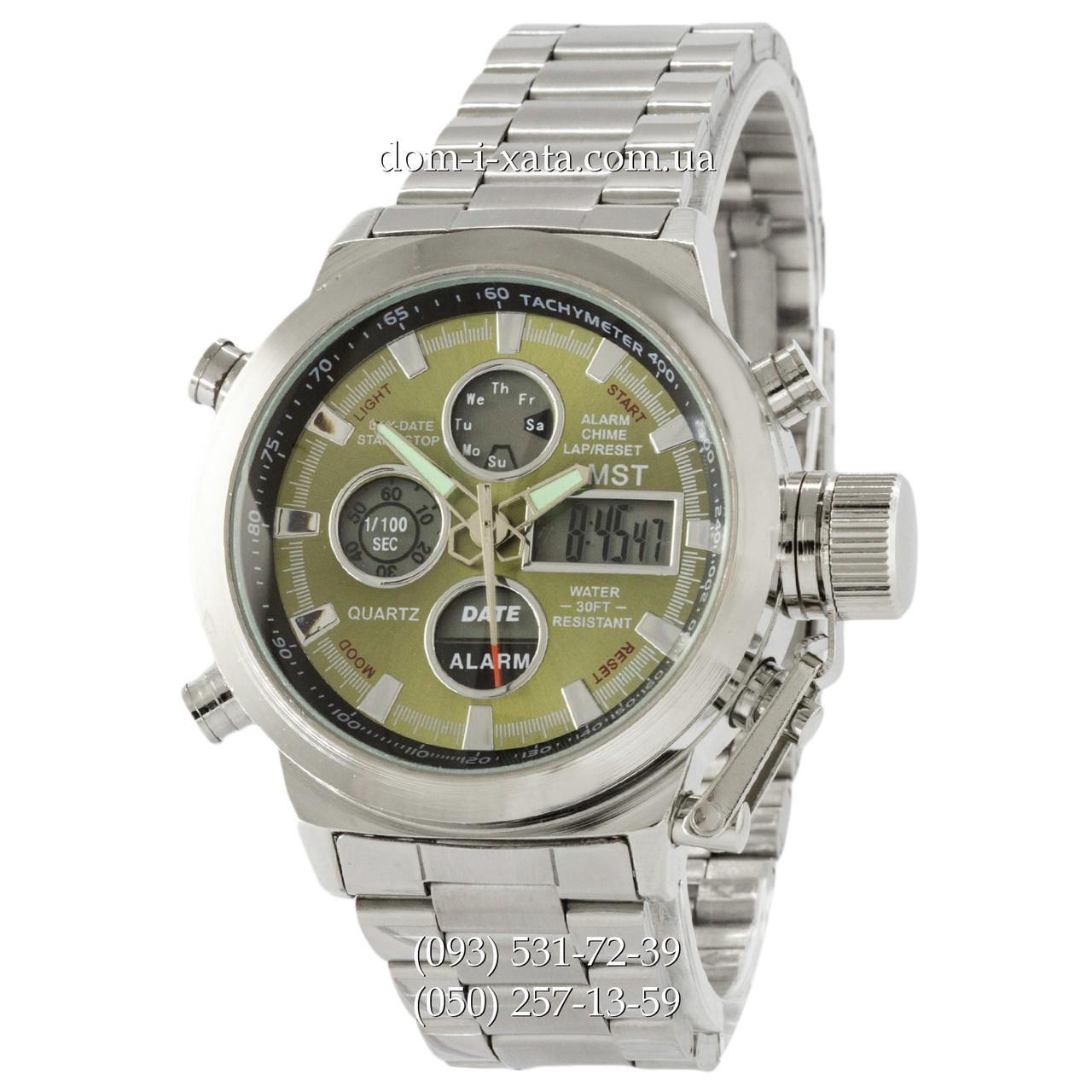 Армейские часы AMST Metall Silver-Green, кварцевые, противоударные, наручные мужские часы АМСТ, реплика отличное качество!