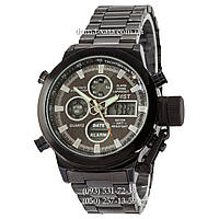 Армейские часы AMST Metall All Black, кварцевые, противоударные, наручные мужские часы АМСТ