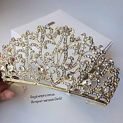 """Шикарна і велика діадема - корона """"Злата"""" для нареченої."""