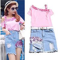 Женский костюм футболка и юбка джинс
