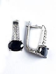 Сережки срібні з сапфіром Т-8020-сф