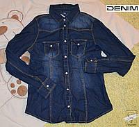 Джинсовая рубашка Denim Co коттон р. 152 синяя для девочки