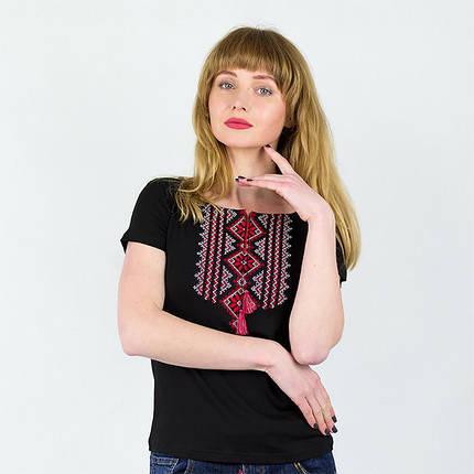 Вышитая футболка орнамент Геометрия красная, фото 2