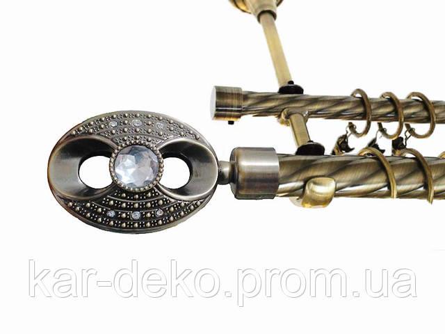 фото карниз металлический двойной для штор Сова kar-deko.com