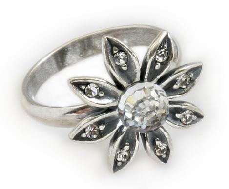 """Кольцо """"Сель"""" с кристаллами Swarovski, покрытое серебром (e5073000) - Andrew в Днепре"""