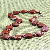 Яшма красная, бусы, 332БСЯ, фото 1