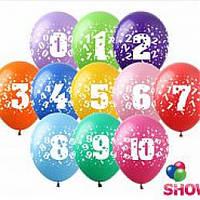 """Воздушные шары """"Цифры от0до10"""" 12""""(30 см) пастель ассорти В упак: 100шт ТМ Арт «SHOW»"""