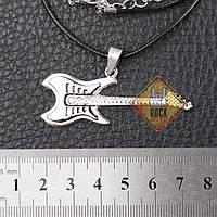 Кулон Гитара (Стальной цвет с 3мя камнями)
