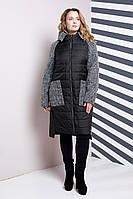 Женское стильное пальто комбинированное, 52-62р, черный