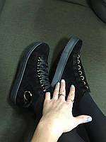 Женские высокие черные кеды на платформе натуральная замша шанель с мехом