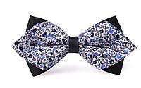 Краватка-метелик синій з орнаментом