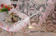 Тюль розовый листик