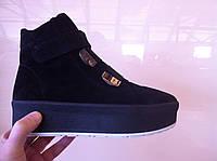 Женские ботинки слипоны замша кожа код 1058
