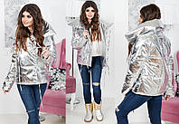 """Стильная тёплая женская куртка на завязках 2157 """"ORIGINAL SILVER FOIL"""""""