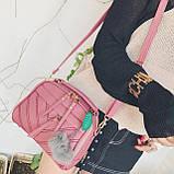 Мини сумочка с меховым брелком, фото 7
