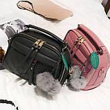 Мини сумочка с меховым брелком, фото 2