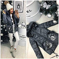 Модная куртка с карманами-варежками в пайетках. (Серый) АРТ-987.13