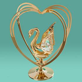 """Фигурка """"Лебедь в сердце"""" Crystocraft с кристаллами Swarovski, 0027-004"""