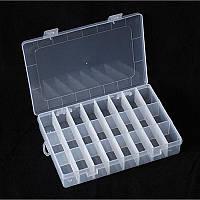 Органайзер для рукоделия 24 ячейки со съемными перегородками 19,5х13х3,5 см, белый пластик
