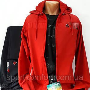 Спортивный мужской трикотажный костюм SOCCER, красный/черный, размер 46-54.