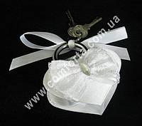 30928 Кружевной бант, свадебный замок белый, размер ~ 8,5 см x 7,5 см х 2 см
