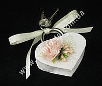 31208-03 Цветочная нежность, свадебный замок белый с розовым, размер ~ 8,5 см x 7,5 см х 2 см