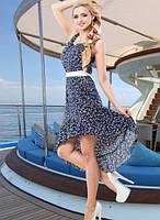 Красивое синее летнее платье Д-091