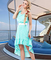 Стильное голубое летнее платье Д-092