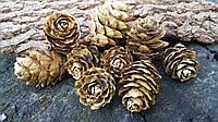 Шишки лиственницы натуральные в золоте, 9 шт в упаковке, 30