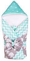 Конверт-одеяло Babyroom бирюзовый-графит(слоники)