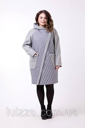 b896ded8231f Женское пальто комбинированное, большого размера 60 р серое