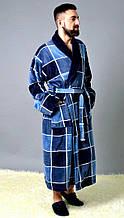 Мужской махровый халат, 100% хлопок, р-р ХЛ; ХХЛ; ХХХЛ (синий)