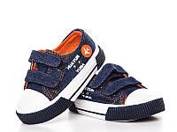 Детские кеды оптом. SJ7602Blue-Orange  (15/5 пар 21-25)