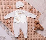 Комплект на выписку, крещение для мальчика с жилетом