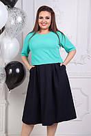 Платье больших размеров 50+ из комбинированной ткани / 3 цвета  арт 3859-70