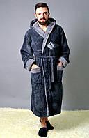 Мужской халат, 80% полиэстер + 20% хлопок, р-р ХЛ; ХХЛ; ХХХЛ (графит)