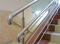 Ограждение лестницы из нержавейки с дополнительным поручнем