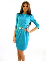Офисное трикотажное бирюзовое платье с карманами