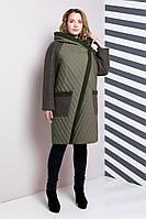 Женское пальто из комбинированных тканей, большого размера 48-64р, хаки