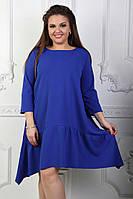 Платье свободного асимметричного кроя больших размеров 48+ / 3 цвета  арт 3862-70