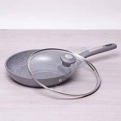 Сковорода Kamille 24 см с гранитным антипригарным покрытием и крышкой