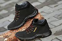 Ботинки полуботинки зимние исскуственный нубук мужские черные Львов (Код: Ш183).
