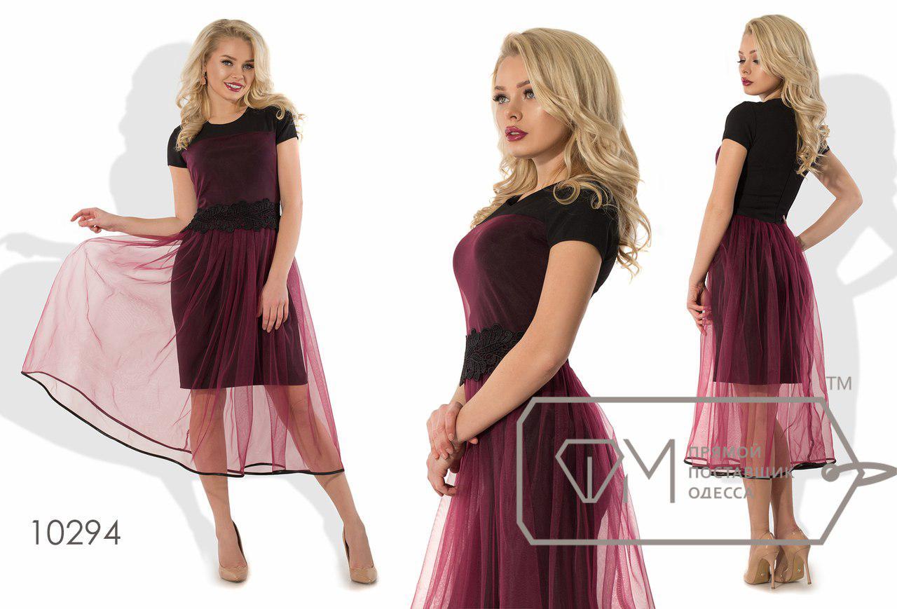 Платье приталенное из креп-костюмки с короткими рукавами, пышным верхом из фатина  размер 42,44,46