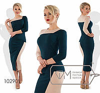 Платье-приталенное из кукурузы двухцветное с рукавами 3/4 размер 42,44,46
