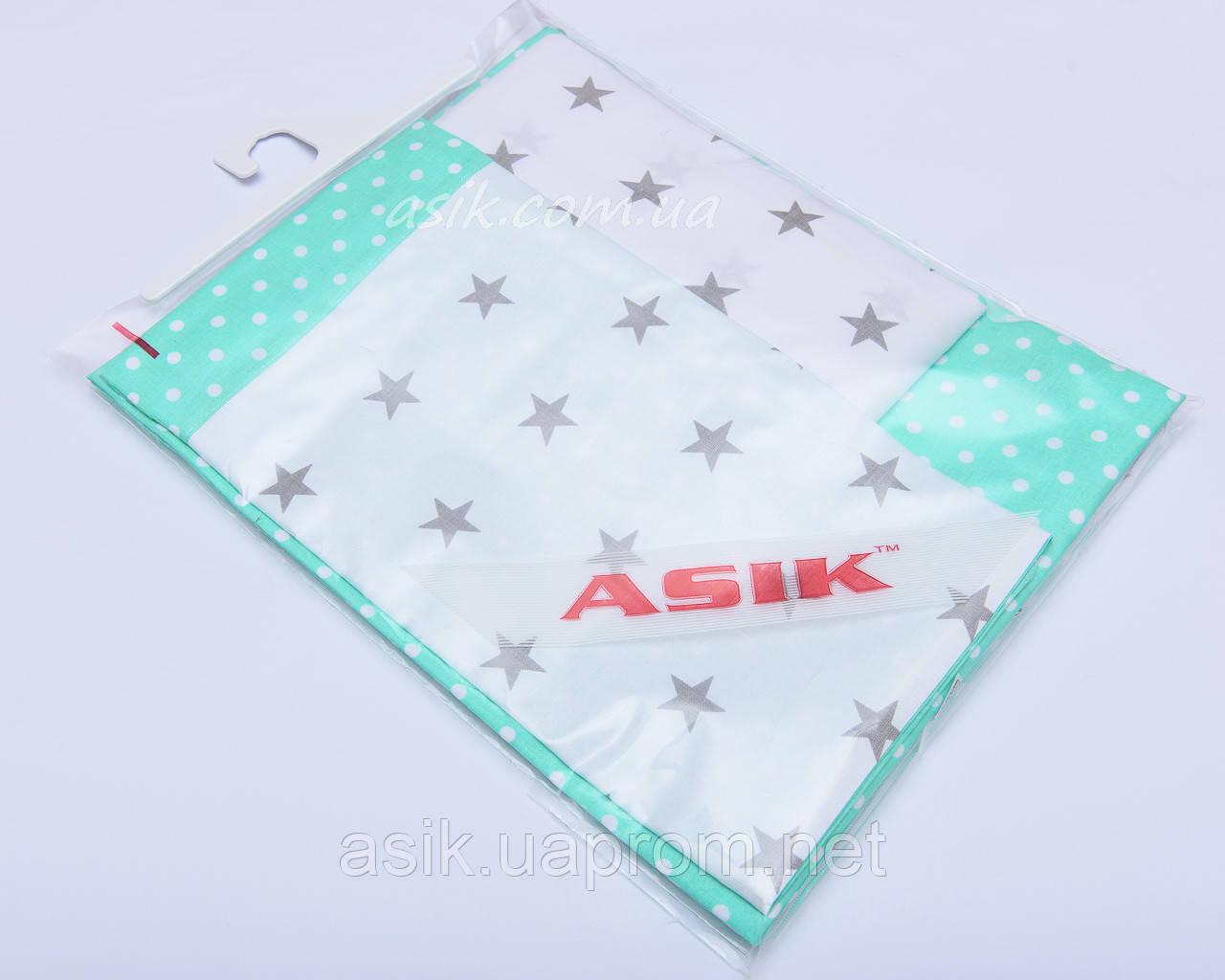 Сменная детская постель Asik Горошек на мяте и серые звёзды на белом 3 предмета (С-0031)