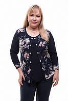 Блуза женская со вставкой Хризантема